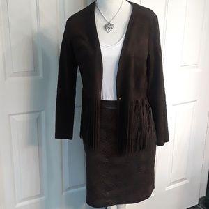 Karen Kane Suede jacket with fringes